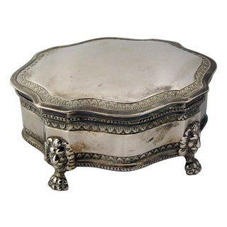 English Silver Plate Jewelry Box with Lion Feet