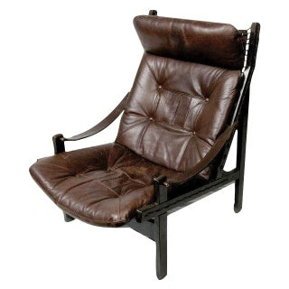 Vintage Swedish Leather Hunter Chairs - A Pair
