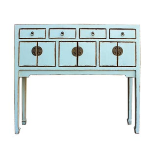 Chinese Distressed Light Blue Narrow Foyer Cabinet