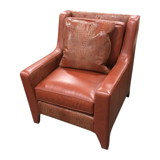 Leathercraft Burnt Orange Leather Accent Chair - Image 1 of 7
