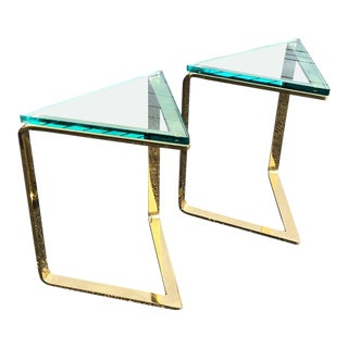 Geometric Brass and Glass Side Tables - a Pair