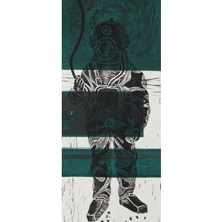 """Antique Diver"" Original Linoleum Block Print"