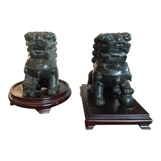 Antique Hand Carved Green Solid Jade Foo Dogs Guardian Lions on Stands - A Pair