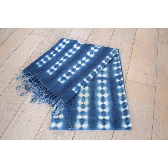 Image of Vintage African Indigo Mudcloth Throw Blanket