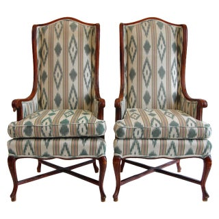 High Wingback Chairs - A Pair