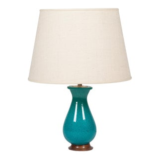 Turquoise Urn Form Ceramic Table Lamp, French, 1930s