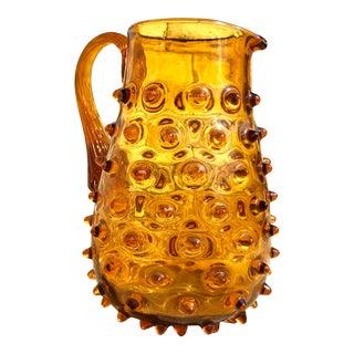 Vintage Mid-Century Amber Glass Hand Blown Pitcher