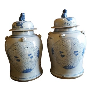 Large Chinese Rustic Blue And White Urns - A Pair