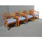 Image of Mid-Century Modern Bamboo & Rattan Arm Chairs - 4