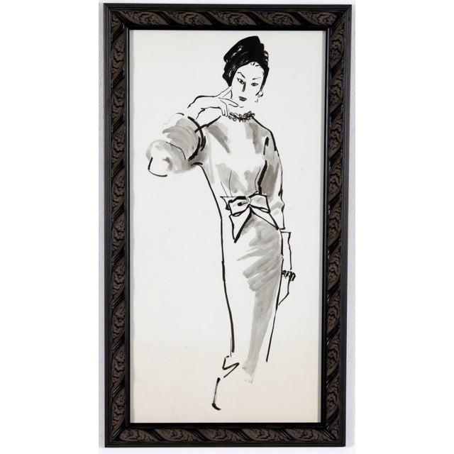 Mid-Century Fashion Ink Drawing - Image 2 of 5