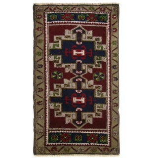Vintage Geometric Turkish Yastik Rug - 1′9″ × 2′10″