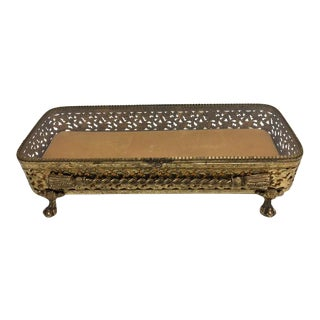 Hollywood Regency Gold Tone Oblong Hinged Box