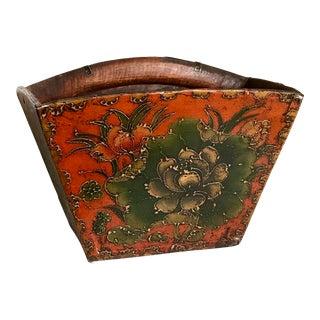 Asian Floral Wood Handled Vessel