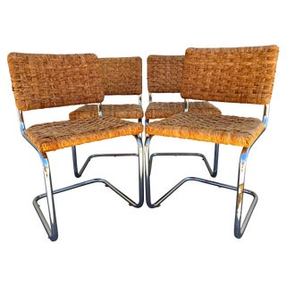 Vintage Wicker & Chrome Dining Chairs - Set of 4