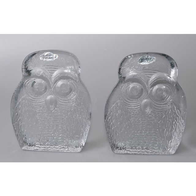 Vintage BLENKO Thick Glass Owl Bookends - Image 2 of 8