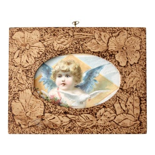 Antique Pyrography Picture Frame
