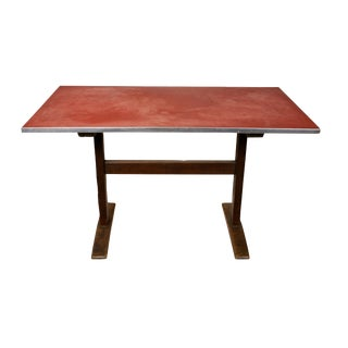 1930s Vintage Rustic Linoleum-Top Wood Base Trestle Desk/Table