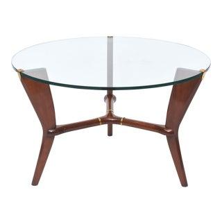 Midcentury Osvaldo Borsani Italian Modern Walnut, Brass and Glass Table