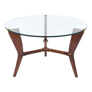 Midcentury Osvaldo Borsani Italian Modern Walnut, Brass and Glass Table