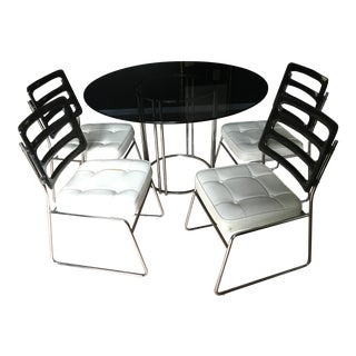Chromcraft Smoked Glass Table and 4 Lucite Chairs