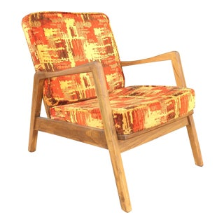 Mid Century Danish Style Lounge or Arm Chair With Exuberant Upholstery by Centa