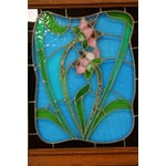 Image of Antique Flemish Floral Stained Glass & Oak Hutch