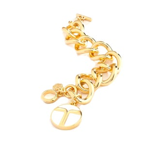 Trina Turk Gold Link Toggle Bracelet in White