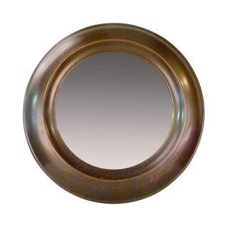 Large Round Mid-Century Brass Mirror