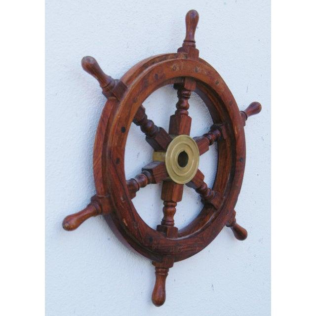 Mahogany & Brass Nautical Boat Ship Steering Wheel - Image 5 of 5