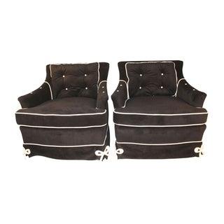 Daniel Jones Black Velvet Vintage Club Chairs