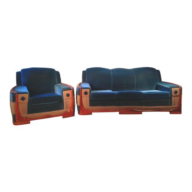 Art Deco Mohair Sofa & Armchair - A Pair - Image 1 of 11
