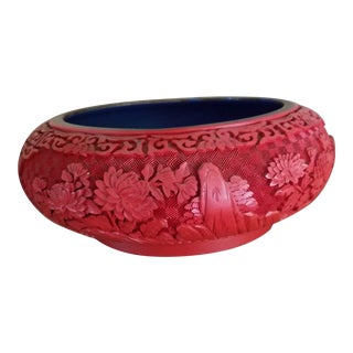 Chinese Hand Carved Cinnabar Red Bowl