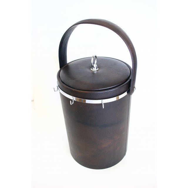 Image of Vintage Ice Bucket Faux Leather and Chrome