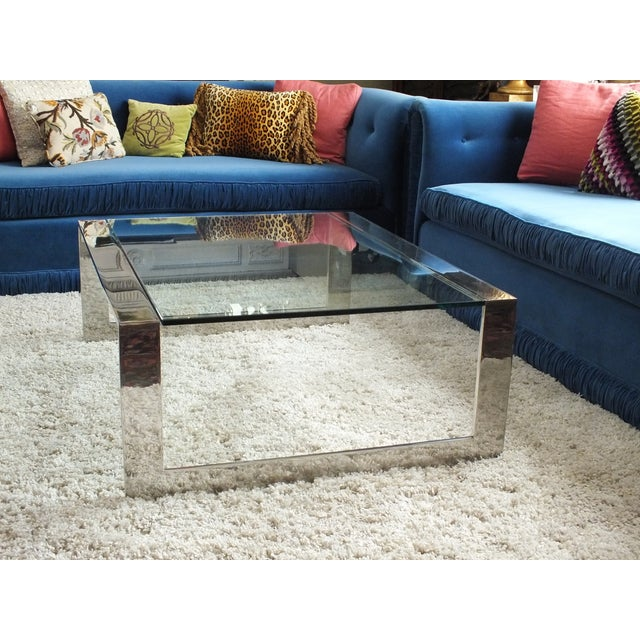 Mid-Century Modern Chrome & Glass Cocktail Table - Image 4 of 10