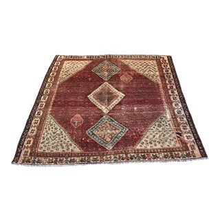 Persian Qashghai Distressed Rug - 5'2 X 6'