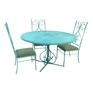 Green Mid-Century Metal Patio Set