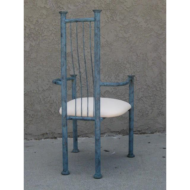 Blue Patinated Metal Chairs - Set Of 4 - Image 3 of 6