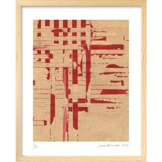 Modern 'Red Meets Blue #1' Framed Print