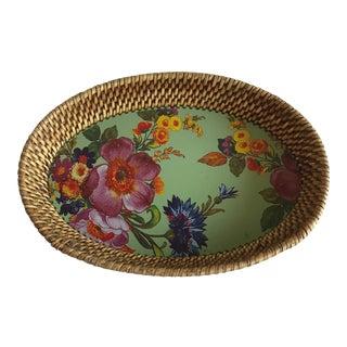 MacKenzie-Childs Wicker Wood Boho Floral Decor Tray