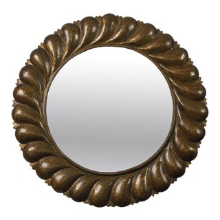 Mid Century Round Mirror with Brass Fluted Edge Frame