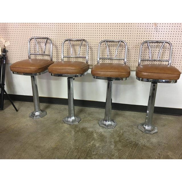 Chrome Soda Fountain Bar Stools - Set of 4 - Image 2 of 9