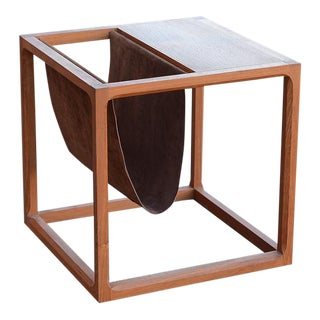 Danish Teak Cube Side Table & Magazine Rack