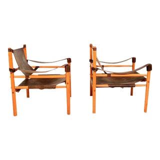Mid Century Modern Pair of Safari Chairs Leather & Wood