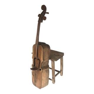 Vintage Carved Wooden Bass Sculpture