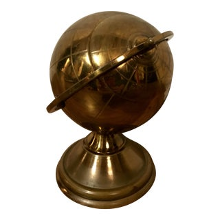 Vintage Brass Globe Cigarette Box