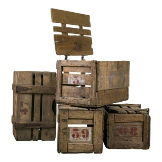 Primitive Hand-Made French Crates with Stenciled Numbers, circa 1900