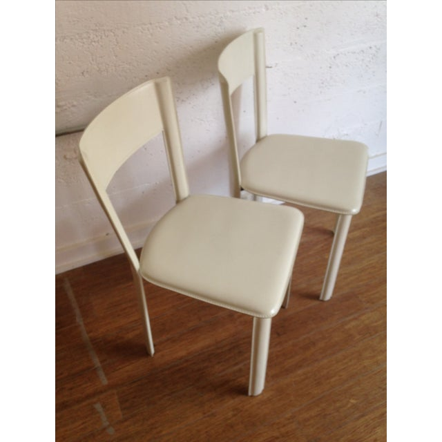 DWR White Leather Chairs - A Pair - Image 4 of 7