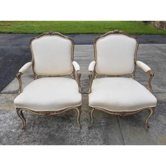 Vintage French Louis XV Style Armchairs - a Pair - Image 2 of 11