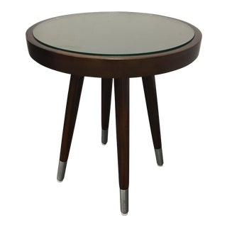 Palecek Round Wood & Glass Side Table