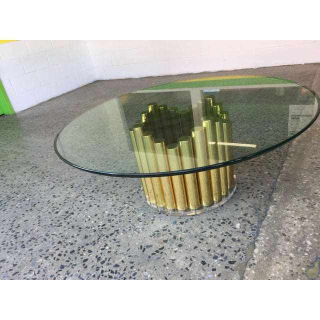 1980's Karl Springer Style Brass Lucite & Glass Cocktail Table - Image 4 of 10